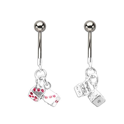 Crystal Dangling Dice Charm Barbell Navel Ring With Swarovski Crystal