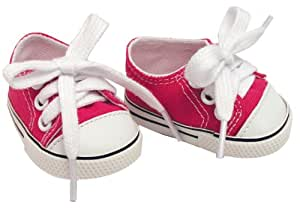 18 Inch Doll Hot Pink Sneakers fit for American Girl Dolls Shoes, 1 Pr. Hot Pink Doll Sneakers