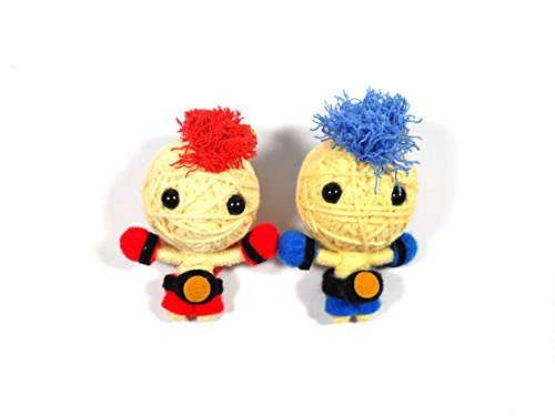 String Voodoo dolls Champion Red and Blue Boxing Muay Thai Keyring 2.5