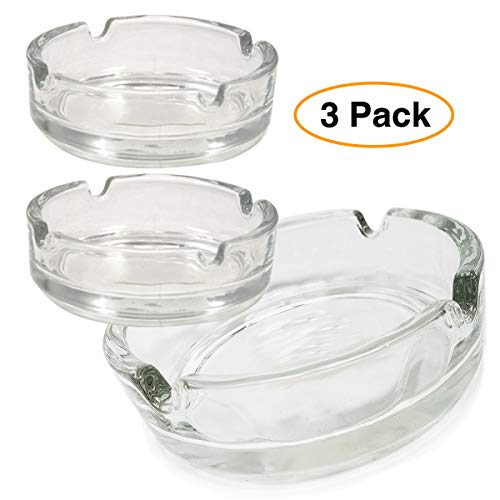 Premium Glass Ashtray (3 Pack) Clear, Classy Round Durable & Thick