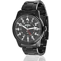 Field & Stream Outdoorsman F208GKBSIP Men's Black Ion Plated Stainless Steel Band GMT Luminous Field Watch