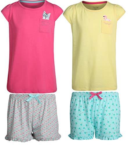 Rene Rofe Girls 4-Piece Summer Short Pajama Set with Adorable Tops, Flamingo/Cat, Size 14/16' ()