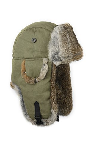 Canvas Bomber (Mad Bomber Canvas Mad Bomber, Olive Canvas with Brown Rabbit Fur, Medium)