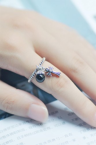 Generic [Cross] S925 silver Thai silver vintage small fresh black onyx personality finger ring women girls lady silver tassels by Generic