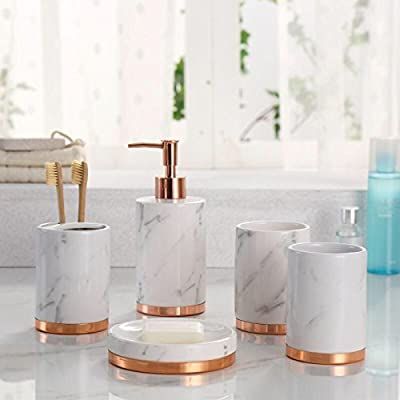 Marble Look with Rose Gold Trim 5 Piece Bathroom Accessory Set -  - bathroom-accessory-sets, bathroom-accessories, bathroom - 41doGmIUt L. SS400  -