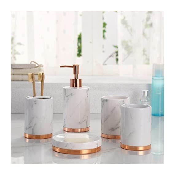 Marble Look with Rose Gold Trim 5 Piece Bathroom Accessory Set -  - bathroom-accessory-sets, bathroom-accessories, bathroom - 41doGmIUt L. SS570  -