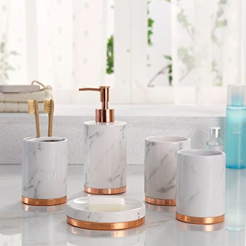 41doGmIUt L - Marble Look with Rose Gold Trim 5 Piece Bathroom Accessory Set