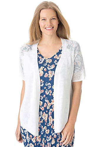Woman Within Women's Plus Size Open Front Short Sleeve Pointelle Cardigan Sweater - White, L