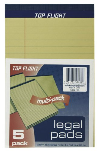 Top Flight 4513105 Legal Pads, 5 x 8-Inches, 0.375-Inch Rule, 50 Sheets per Pad, 5 Pads per Pack (Canary) Topflight Inc.