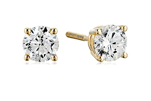 Certified 14k Yellow Gold Diamond with Screw Back and Post Stud Earrings (3/4cttw, J-K Color, I1-I2 Clarity) ()
