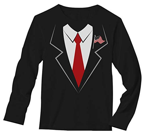 Halloween Costumes Shirt And Tie (Donald Trump Suit & Tie Easy Halloween Costume Long Sleeve T-Shirt XX-Large)