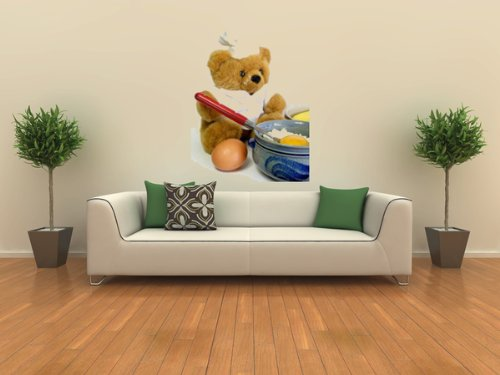 Food Wall Decals Teddy Bear Is Baking - 18 inches x 14 inches - Peel and Stick Removable Graphic