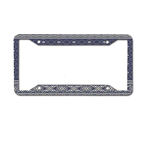 Koperororo Ethnic Boho Pattern Indian Sari Print with Flowers Tribal Theme Design Universal License Plate Frame Auto Truck Car Front Tag 4 Holes Plate Frame Cover 6