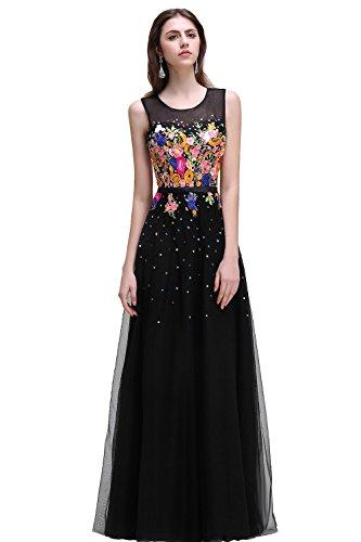 Babyonlinedress Vestido largo para fiesta de noche y boda estilo A-line elegante con bordados refinados cuello redondo sin mangas espalda de cierre negro