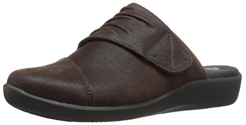 CLARKS Womens Sillian Rhodes Mule Dark Brown Synthetic Nubuck