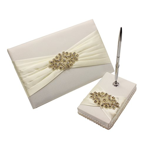 Meiysh Satin Bow Rhinestone Flower White Base Wedding Accessories Guest Book and Pen Set with Rhinestone (Ivory White)
