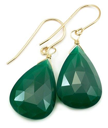 14k Gold Green Onyx Faceted Large Long Dangle Teardrop Briolettes Earrings