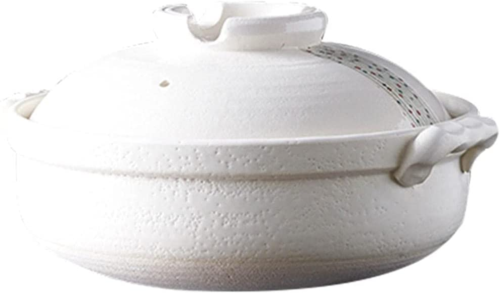 Earthenware Clay Pot Casserole Ceramic Stew Pot For Soup Dry Firing Clay Pot Household High Temperature Resistant White-2.2L