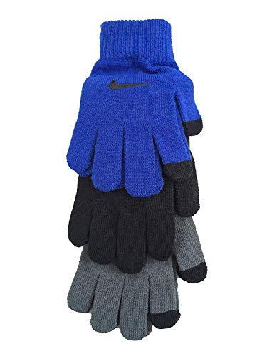 Nike Youth Swoosh Basic Knitted 3 Pack Gloves (Blue (9A2678-U89) / Black/Grey/White, 8/20)
