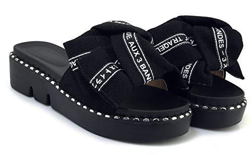 Femme de Simple Mules Bout Plage Easemax Chaussure Plate Noir Ouvert qd1x7qU