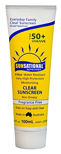Sunsational Australian Sunscreen (3.5 Oz - 100ML) SPF 50+ UVA & UVB. PABA Free, Moisturizing, Water Resistant 4 Hours. Nano-Particle Free. Perfect Under Make-up. Made in Australia (100ML)