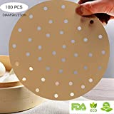 IONESTAR Rounds Perforated Pre Cut 9 inch 100 Pcs in Bulk Parchment Paper Liners for Cooking,Unbleached,Eco-Friendly,Non-Stick,Circles Paper with Holes Suit for Food, Air Fryers,Bamboo Steamer