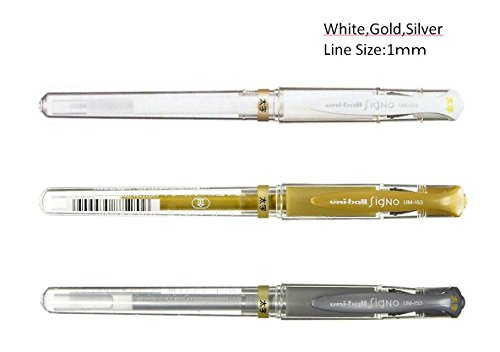 (Uni ball Signo UM153 Whit,Gold,Silver Gel Inc Pen,1.0mm,set of 3 with our original ball point pen)