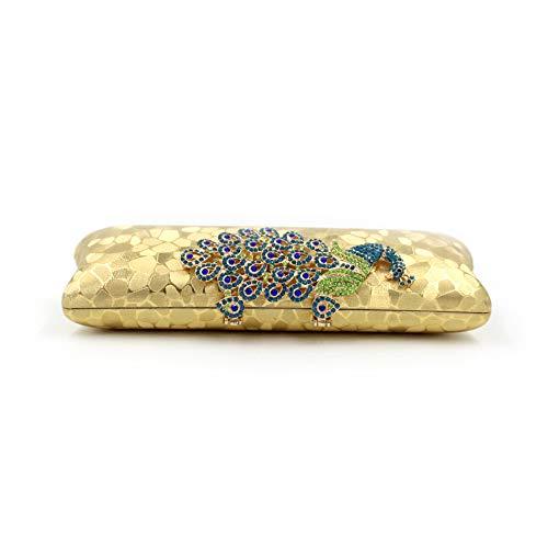 Di Xoxo Pavone Con Colorate Paillettes Donna Elegante Nero Borsa Gold Diamanti Da RSxwq8pHR