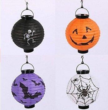 Edealing 4 X LED-Halloween-Kürbis-Geist-Papier Hängen Laterne-Licht-Feiertags-Party-