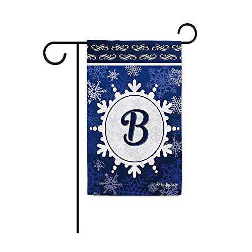 KafePross Welcome Winter Snowflake Monogram B Decorative Garden Flag Initial Letter Snow Deocr Banner for Outside 12.5X18 Inch Double Sided