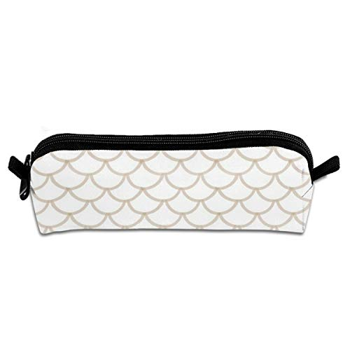 (Lcokin Modern Taupe Scallop Pattern Pen Pencil Case Canvas Pen Zipper Holder Stationery Cosmetic Bags Pencil Pouch)