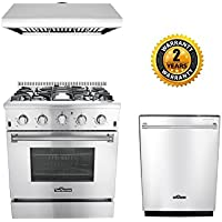 Thor Kitchen 3-Piece Kitchen Package with HRG3080U 30 Pro Style 4 Burner Stainless Steel Gas Range, HRH3006U 30 Under Cabinet Range Hood Stainless Steel and HDW2401SS 24 Dishwasher Stainless Steel