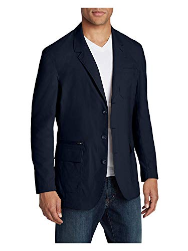 Eddie Bauer Men's Voyager 2.0 Travel Blazer, Navy Regular - Sport Coat Linen Italy