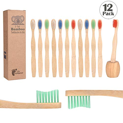 Bamboo Toothbrush for Kids | 12 Pack toothbrushes + Tooth Brush Holder | Biodegradable Compositable Natural Wood | Non Toxic Soft BPA Free Bristles | by Little Footprint ()