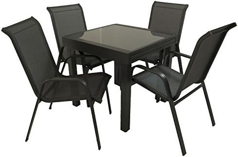 Conjunto para jardín Mesa Extensible 80/160 y 4 sillones apilables ...