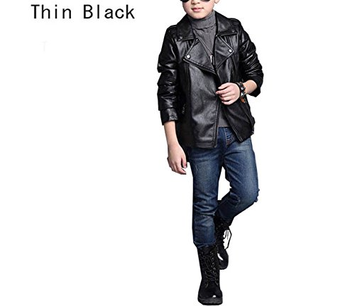 Daerwen Winter Kids PU Leather Suede Outerwear Coats School Boys Girls Motorcycle Biker Black Jackets Winter Children Clothing Thin Black 11 (50s Biker Girl)