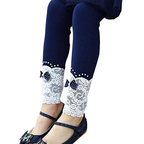 Romapig Winter Kids Girls Lace Flowers 2-6 Years Legging Pant (6, Navy Blue) (Old Navy Pant Women)