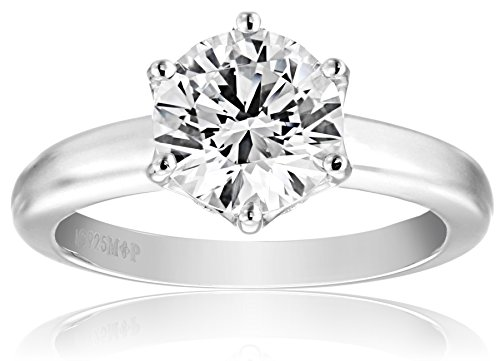 (Platinum-Plated Sterling Silver Solitaire Ring set with Round Swarovski Zirconia (2 cttw), Size)