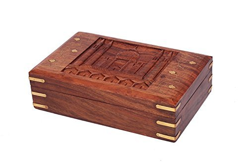 Christmas Thanksgiving Gifts Wooden Jewelry Trinket Box Organizer Keepsake Storage Chest with Hand Carved Worlds Seventh Wonder ''Taj Mahal'' Design by Store Indya (Image #1)