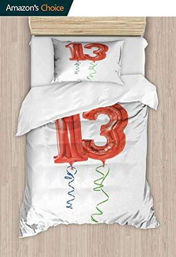 13th Birthday 3D Bedding Quilt Set, Red Ballons with Swirled Curly Ribbons Number Thirteen Celebration Event, Decorative 2 Piece Bedding Set with 1 Pillow Sham,59 W x 78 L Inches, Red Green Blue]()