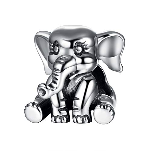 Globalwin Jewellery 925 Sterling Silver Elephant Charms Animal Fit for Pandora/European Charm Bracelets - Elephant Animal Charm