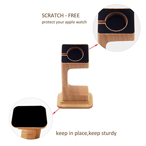 Apple Watch Dock, Blue Hole Stable Elevated Base Wood Apple Watch Charging Stand Dock Station, Support Apple Watch Series 3, Series 2, Series 1 (38 mm & 42 mm) by Blue Hole (Image #3)