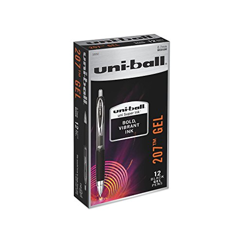 uni-ball 207 Retractable Gel Pens, Medium Point (0.7mm), Black, 12 Count