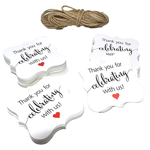 200 Pcs Thank You Tags Wedding Party Favor Gift Tags DIY & Gift Wrapping Craft Hang Tags with 66 Feet Natural Jute Twine -