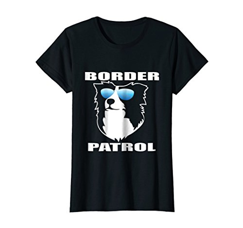 Womens Border Patrol Border Collie Dog NickerStickers T-Shirt Small (Ladies Border)