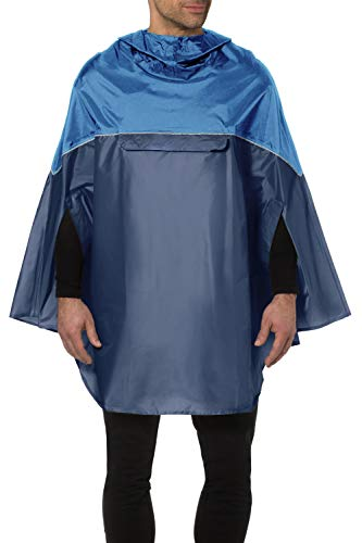 lldeal Rain Ponchos for Kids and Adults, Reusable Ponchos on Hood Lightweight Rain Jacket (Blue)