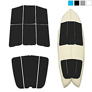 ABAHUB 9 Piece Surf Deck Traction Pad Premium EVA Tail Kicker 3M Adhesive Surfboard Longboard Shortboard Funboard Fish Skimboard Black/Blue/Gray/White