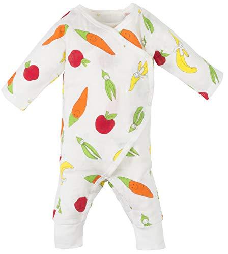 (Under the Nile Baby Muslin Side Snap Kimono Fruit and Veggie Print Organic Cotton (3-6m))