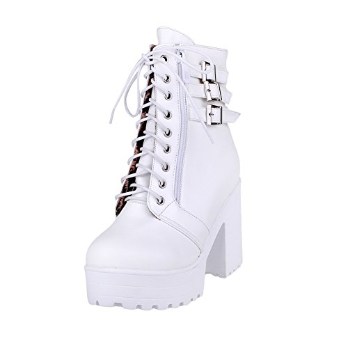 Heels Boots PU Low High White Top Solid Women's Zipper AgooLar BwqtS1