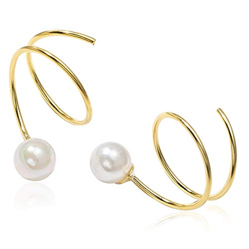 OwMell 925 Sterling Silver Pearl Earrings for Women Girls 14K Gold Plated Twist Wrap Ear Stud Earrings